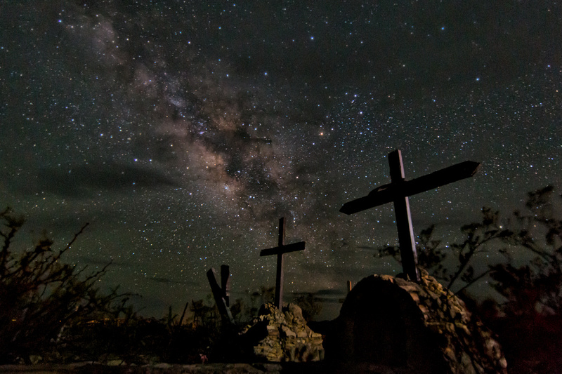 night sky and grave